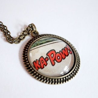 KAPOW Recycled Vintage Comic Book Necklace from Comic Salvage