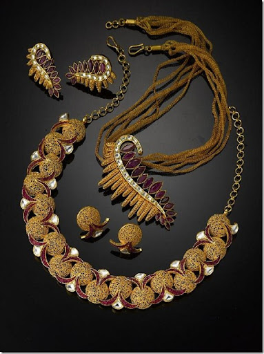 Unique Gold Jewellery Necklace jeweloriginscomIndian Designer