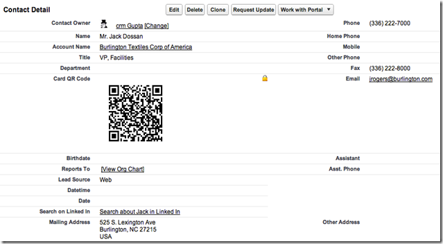Contact page showing QR code generated in Memcard format via Formulas