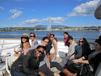 'Wagner's International Health Policy class takes a boat ride on Lake Leman' Photo by Vivian Yela