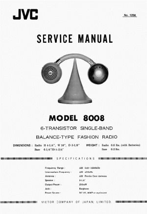 JVC Service Manual:  Model 8008 Balance-type fashion radio