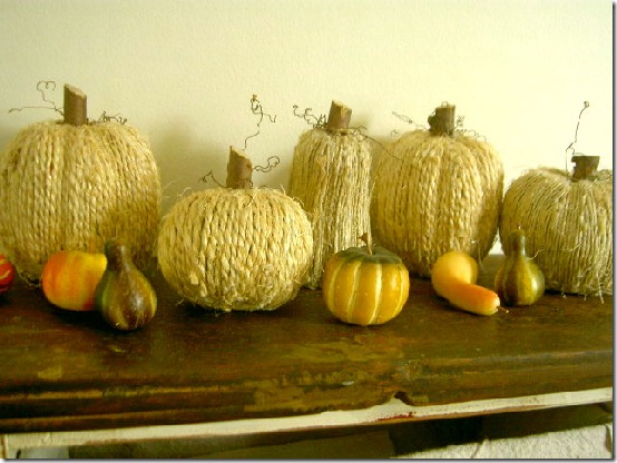 diy projects with jute--make jute wrapped pumpkins for fall