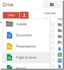 Google Drive Crea Foglio d lavoro