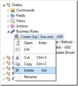 Delete context menu option in the Project Explorer.