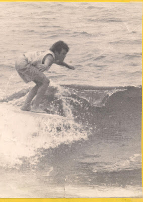Brad surfing in a contest on a special designed board called the Scorpion by Donald Takayama.