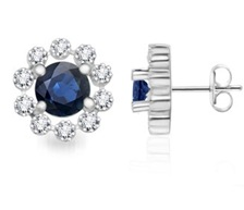 Round Sapphire and Diamond Floral Border Earrings