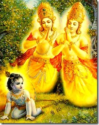 Nalakuvara and Manigriva seeing Krishna
