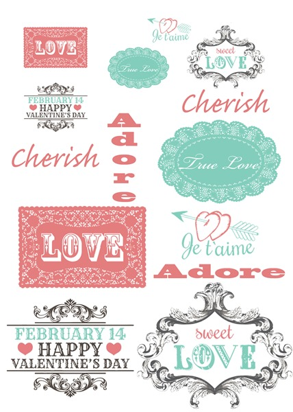 Love & Romance Sentiments Sheet