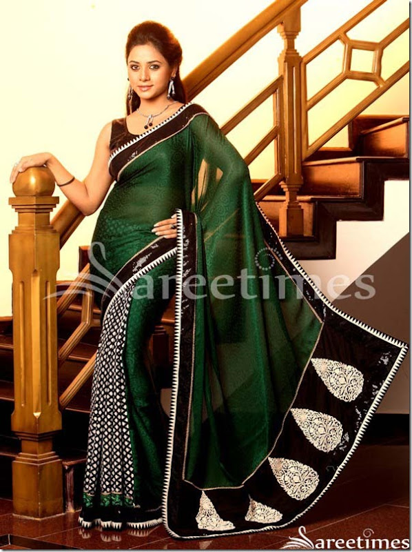 Suja_Green_Black_Georgette_Saree