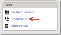 The Report Abuse link is in the Tools box