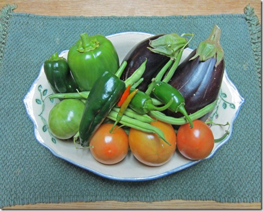 Eggplants, tomatoes and peppers