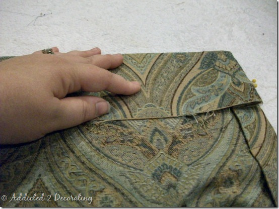 diy project--how to make unlined pinch pleated drapery panels with contrast fabric band at the bottom