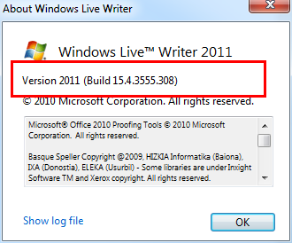 about Windows Live Writer 15.4.3555.308