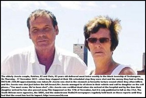 JOOSTE Katrien and chris murdered 17 nov 2011 Soshanguve township during routine meat delivery round