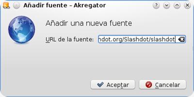 akregator añadir una fuente