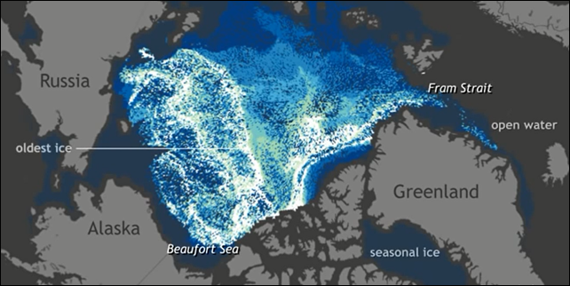Decades ago, the majority of the Arctic's winter ice pack was made up of thick, perennial ice. Today, very old ice is extremely rare. This animation tracks the relative amount of ice of different ages from 1987 through early November 2014. Video produced by the Climate.gov team, based on data provided by Mark Tschudi. Photo: NOAA