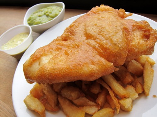 Battered Cod; Chips; Mushy Peas