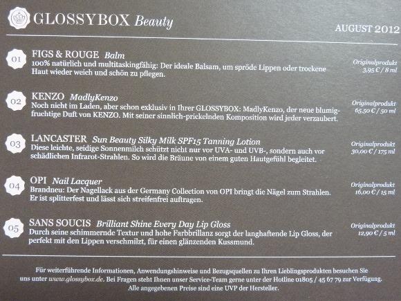 Glossybox August 2012 b