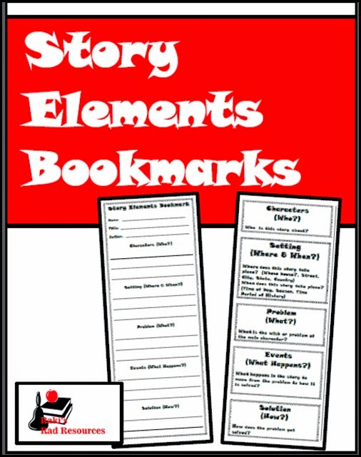 Resources to keep students reading books they enjoy while keeping them accountable for their learning.  Resources from Raki's Rad Resources - Story Elements Bookmark