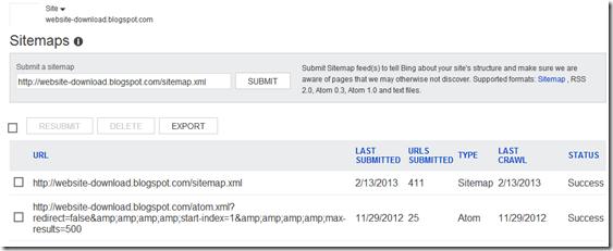 submit blog format sitemap di Bing webmaster tools