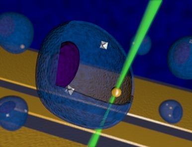 célula sendo aquecida com luz laser