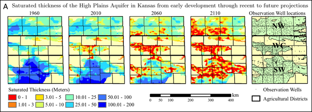Irrigated agriculture is supported by groundwater pumping that exceeds the rate of recharge in most regions of western Kansas, which led to depletion of the High Plains Aquifer. The groundwater level is measured across a network of observation wells, and results are individually fitted to a logistic regression model. Graphic: Steward, et al., 2013