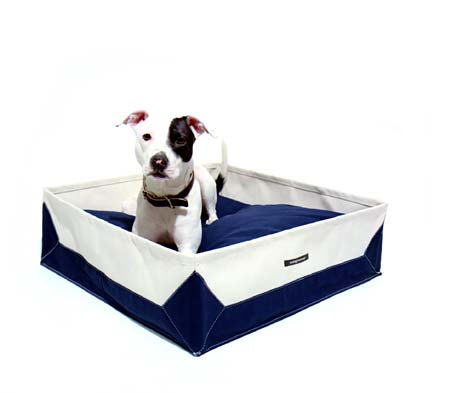 This blue and white dog bed from Wagwear is perfect for a beach house. (wagwear.com)