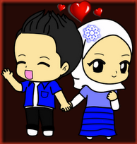 Freebies Doodle Couple Biru