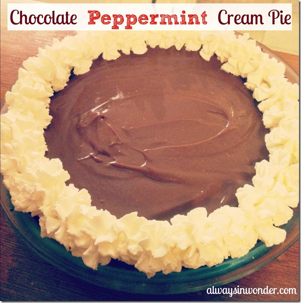 Chocolate Peppermint Cream Pie on alwaysinwonder