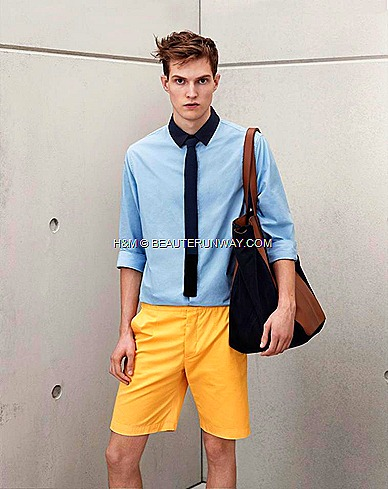 Marni H&M Mens Baby Blue Shirt  Tie  Tailored Shorts Navy Bag