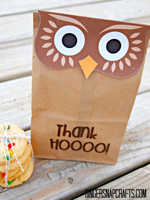 owl thank you bag cute