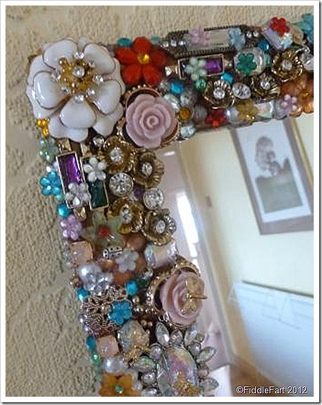 Jewelled Mirror Upcycled Mirror recycled Mirror 