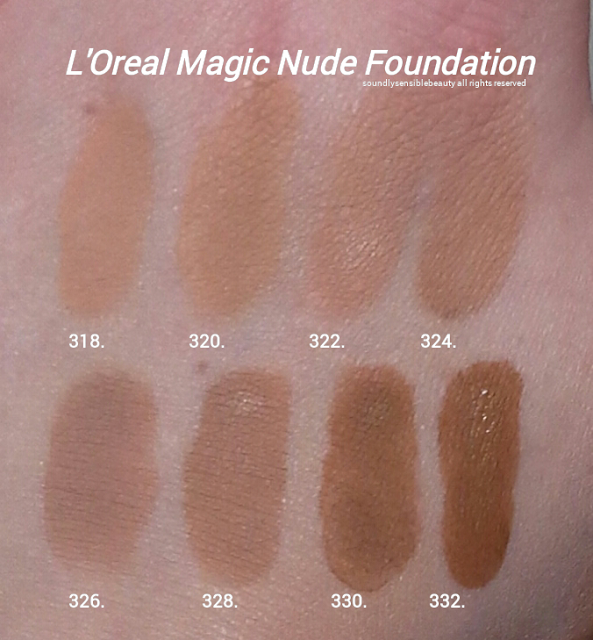 L'Oreal Magic Nude Liquid to Powder Foundation SPF 18; Review & Swatches of Shades 318 Natural Buff, 320 Natural Beige, 322 Sand Beige, 324 Buff Beige,  326 True Beige, 328 Sun Beige, 330 Classic Tan, 332 Soft Sable,