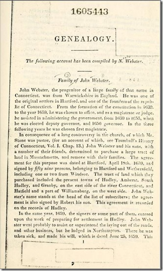Compiled Genealogy of the Family of John Webster, by Noah Webster - Pg. 1
