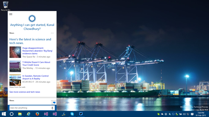 6. How to activate Cortana in Windows 10 - Cortana Activated