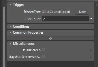 Propriedades da trigger ClickCountTrigger e da action de fullscreen