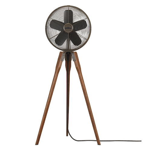This pedestal fan is beautiful and reminds me of an old camera tripod.  (modernlightinguniverse.com)
