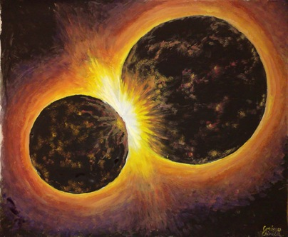 Stele neutronice ciocnindu-se - Pictura - Neutron stars coliding - Space painting