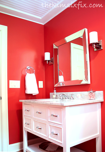 Red white bathroom