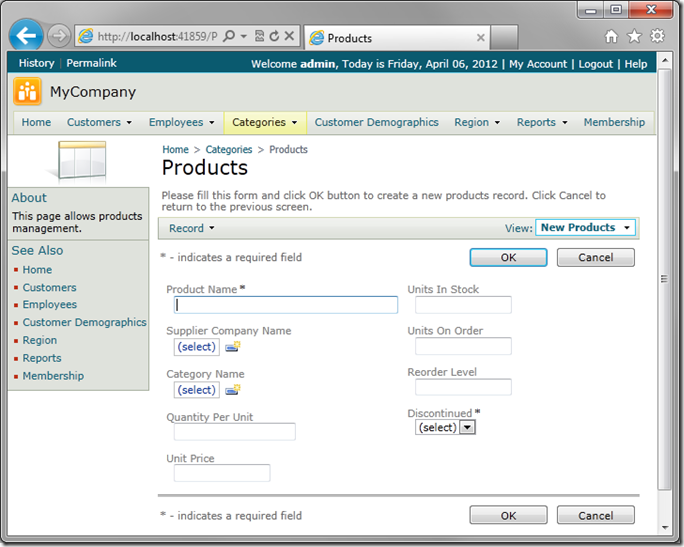 View 'createForm1' using the new custom template in Code On Time web application