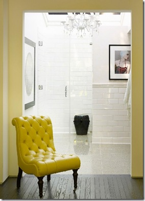 yellow stud chair via pink wallpaper