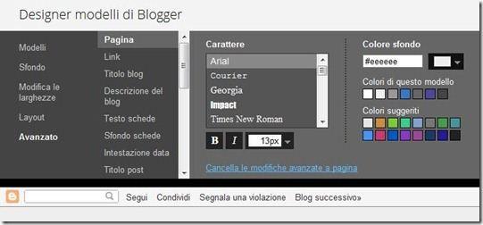 caratteri del blog su Blogger