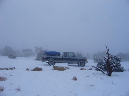 The truck parked at the Wedge Overlook