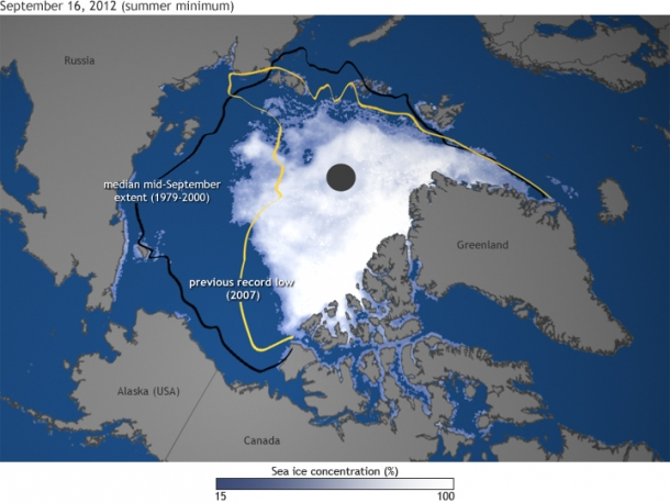 Satellite view of Arctic sea ice at the summer minimum, 16 September 2012. The world lost record amounts of Arctic sea ice in 2012 and spewed out all-time high levels of greenhouse gases by burning fossil fuels. Graphic: NOAA