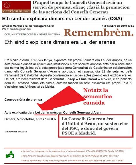 remembrèm Unitat d'Aran per sosténer la Lei der occitan, aranés en Aran