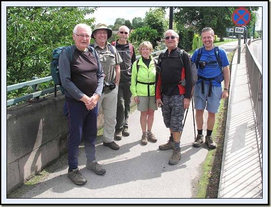 Starting Part 5 of the Salford Trail, from the bridge over Glaze Brook - Reg, Alan, Rick, Ann, John and JJ