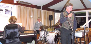 The Music Makers Band in full swing. Left to Right: Carole Littlejohn, Ian Jackson, Peter Brophy and  Len Hancy .