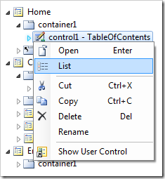 List context menu option on control1 on the Home page.
