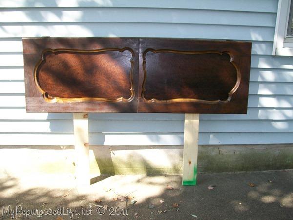repurposed door (headboard)