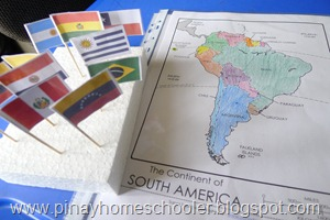 Map and Flags of South America
